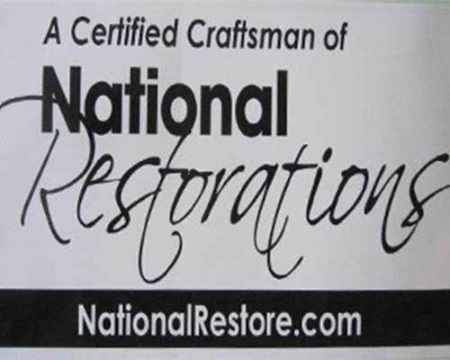 National Restorations certificate